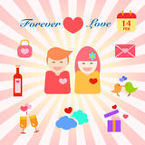 Infographic van paar in liefde voor huwelijk en valentijnskaartendag royalty-vrije illustratie