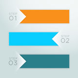 Infographic Vector Arrow Point Steps 1 to 3 Template A. Vector colourful paper banners with numbers 1 to 3 and arrows pointing to a blank space for text with Stock Images