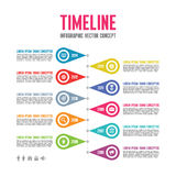 Infographic Vector Concept in Flat Design Style - Timeline Template Royalty Free Stock Images
