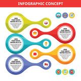 Infographic vector concept illustration with icons in flat style. Stock Photos