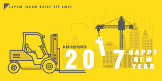 Infographic Vector creative illustration of 2017 new year text f. Infographic set Vector creative illustration of 2017 new year text forklift city building crane Royalty Free Stock Photos