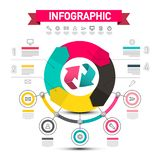 Infographic Vector Design with Arrows. Data Flow Chart with Icons and Sample Texts. Five Steps Infographics Layout stock illustration