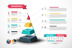 Infographic Vector Design with Pyramid and Sample Texts. Four Steps Infographics Layout. royalty free illustration