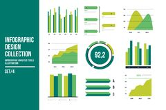 Infographic vector elements. Set of financial and marketing charts. Round and with percentages diagrams showing progress and regression. Color business graph Stock Images