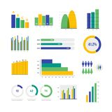 Infographic vector elements. Set of financial and marketing charts. Round and with percentages diagrams showing progress and regression. Color business graph Royalty Free Stock Photo