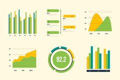 Infographic vector elements. Set of financial and marketing charts. Round and with percentages diagrams showing progress and regression. Color business graph Stock Photo