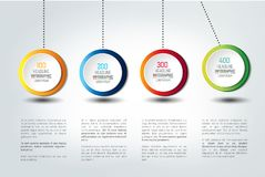 Infographic vector option banner with pendulum. Color spheres, balls, bubbles. Infographic template Royalty Free Stock Images