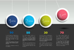 Infographic vector option banner with pendulum. Color spheres, balls, bubbles. Infographic template Stock Images