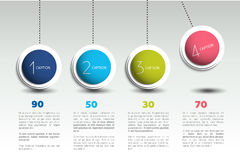 Infographic vector option banner with pendulum. Color spheres, balls, bubbles. Royalty Free Stock Photos