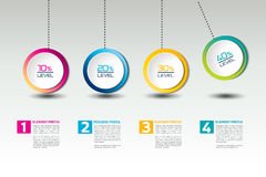 Infographic vector option banner with pendulum. Color spheres, balls, bubbles. Infographic template Royalty Free Stock Image