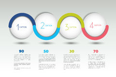 Infographic vector option banner with 4 steps. Color spheres, balls, bubbles. Stock Photo