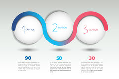 Infographic vector option banner with 3 steps. Color spheres, balls, bubbles. Stock Photography