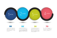 Infographic vector option banner with 4 steps. Color spheres, balls, bubbles. Stock Photography