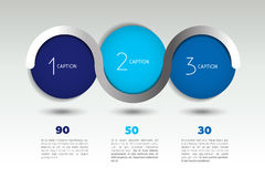 Infographic vector option banner with 3 steps. Color spheres, balls, bubbles. Royalty Free Stock Images