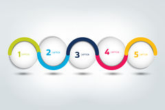 Infographic vector option banner with 5 steps. Color spheres, balls, bubbles. Stock Photos