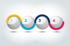 Infographic vector option banner with 4 steps. Color spheres, balls, bubbles. Stock Photos