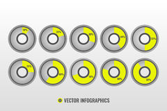 Infographic vector, 10, 20, 30, 40, 50, 25, 60, 70, 80, 90 pie charts. Grey and yellow circle diagrams  on white background Royalty Free Stock Images