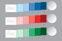 Infographic vector in shades of blue, red and green color showin Stock Images