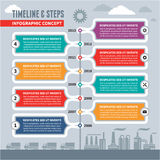 Infographic Vectorconcept - Chronologie & Stappen Stock Foto