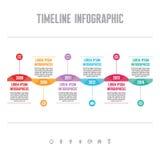 Infographic Vectorconcept in Vlakke Ontwerpstijl - Chronologiemalplaatje Royalty-vrije Stock Foto's
