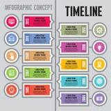 Infographic-Vektor-Konzept in der flachen Design-Art - Zeitachse u. Schritte - Fahnenschablone