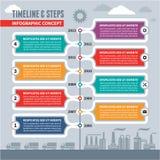 Infographic-Vektor-Konzept - Zeitachse u. Schritte Stockfoto