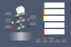Infographic vektor som en metallspiral med den tomma vita cirkeln på Arkivbild