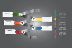 Infographic vektor som en metallspiral med färgmetalletiketter och Fotografering för Bildbyråer