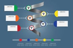 Infographic vektor som en metallspiral med horisontaltimeline Royaltyfri Fotografi
