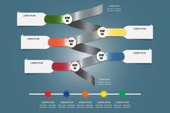 Infographic vektor som en metallspiral med tom färgmetalllabe Arkivfoton