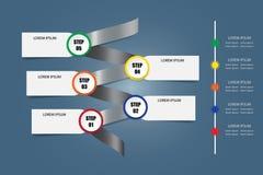 Infographic vektor som en metallspiral med vertikal timeline Royaltyfria Bilder