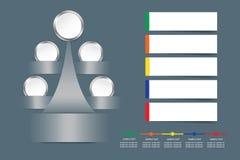 Infographic vektor som ett metallträd med tomma vita cirklar Arkivfoto