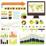 Infographic vektor. ställ in apelsin-gräsplan Royaltyfria Foton
