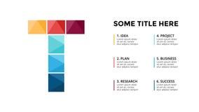 Infographic vektoralfabet, presentationsglidbanamall Affärsidé med bokstav T och ställe för din text 16x9 Fotografering för Bildbyråer