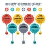 Infographic vektorbegrepp i plan designstil - Timelinemall stock illustrationer