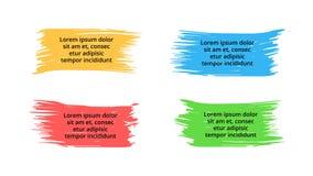Infographic vektorborstebaner, etiketter och klistermärkear Vattenfärgmålarfärgbegreppet med 4 alternativ, särar, moment, process Royaltyfri Fotografi