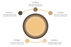 Infographic vektorcirkelpilar, cirkuleringsdiagram, presentationsdiagram Affärsinfographicsen med 5 alternativ, särar, moment, pr royaltyfri illustrationer