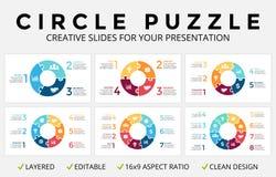 Infographic vektorcirkelpilar, cirkuleringsdiagram, pusselfigursåggraf, diagram för paj för presentation för glidbana 16x9 Affär royaltyfri illustrationer