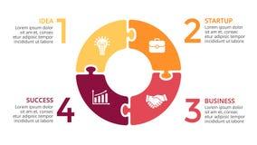 Infographic vektorcirkelpilar, cirkuleringsdiagram, pusselgraf, presentationsdiagram Affärsidé med 4 alternativ Fotografering för Bildbyråer