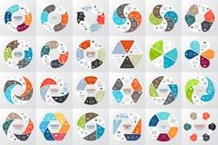 Infographic vektorcirkelpilar, diagram, graf, presentation, diagram Konjunkturbegrepp med 6 alternativ, delar