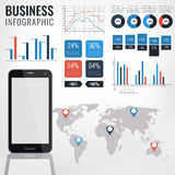 Infographic Vektorillustration des Details Weltkarte-und Informations-Grafiken mit Handy des Bildschirm- Lizenzfreie Stockfotos