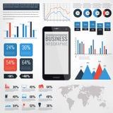 Infographic vektorillustration för detalj Världskarta- och informationsdiagram med pekskärmmobiltelefonen Arkivbild
