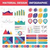 Infographic Vektorsatz des Geschäfts in der materiellen Designart Geschäft infographics Elemente Infographic im flachen Artdesign Lizenzfreie Stockfotos