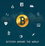 Infographic virtual de las transacciones del dinero de Bitcoin en todo el mundo - en todo el mundo basada en elementos de la aten Foto de archivo