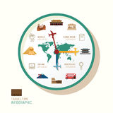 Infographic watch and travel flat icons idea. Vector illustratio Stock Photo