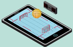 Infographic water polo playground, ball, net, and tablet. Isometric water polo image. Isolated Stock Image