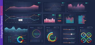 Infographic web analysis element design.Art design annual statistics graphs. Abstract concept graphic UI, UX stock illustration