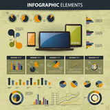 Infographic website elements. Vector set of various infographic elements - illustration in freely scalable and editable vector format Stock Photo