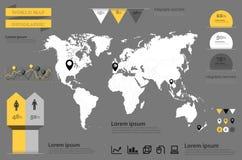 Infographic wektor Światowa Mapa i Ewidencyjne Grafika Zdjęcie Stock