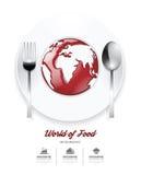 Infographic-Welt der Lebensmittel Designschablone. Tomatensauce auf Welt Stockfoto